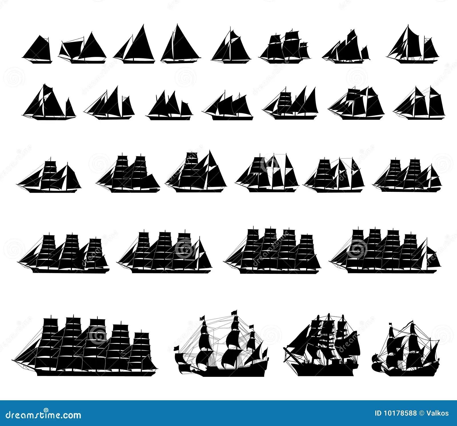 Types Van Zeilboten Vector Illustratie Illustratie Bestaande Uit Piraat