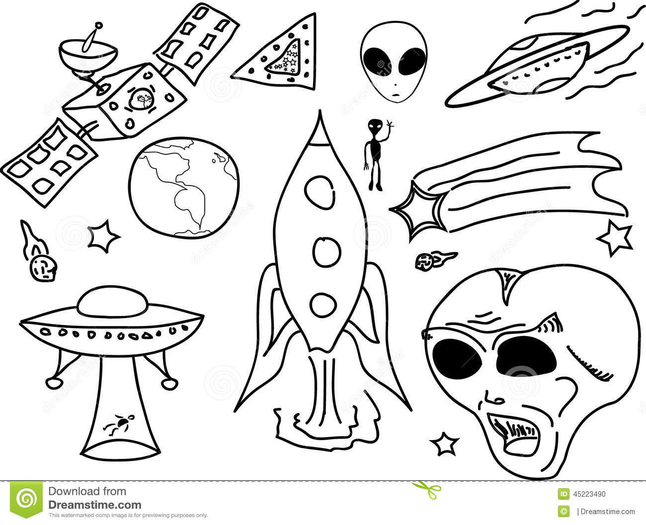 Ufo Doodle Cartoon Stock Vector Illustration Of Doodle