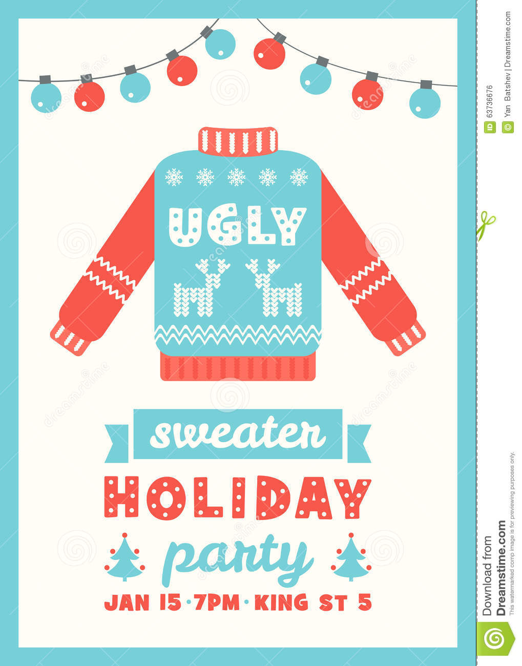 Ugly Sweater Holiday Party Invitation Card Stock Vector