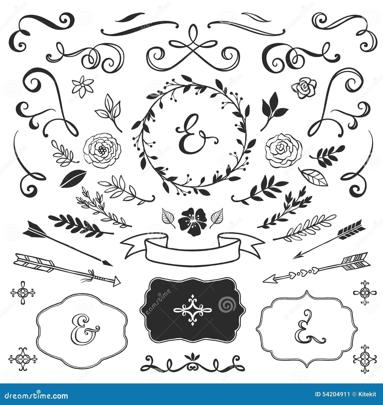 Uitstekende Decoratieve Elementen Met Het Van Letters