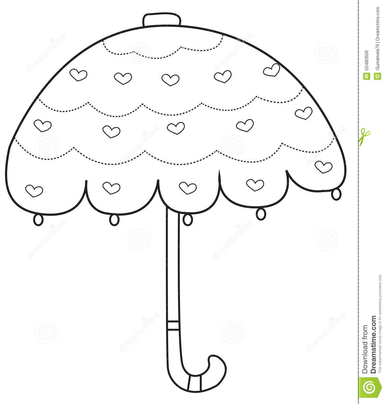 Umbrella Coloring Page Stock Illustration