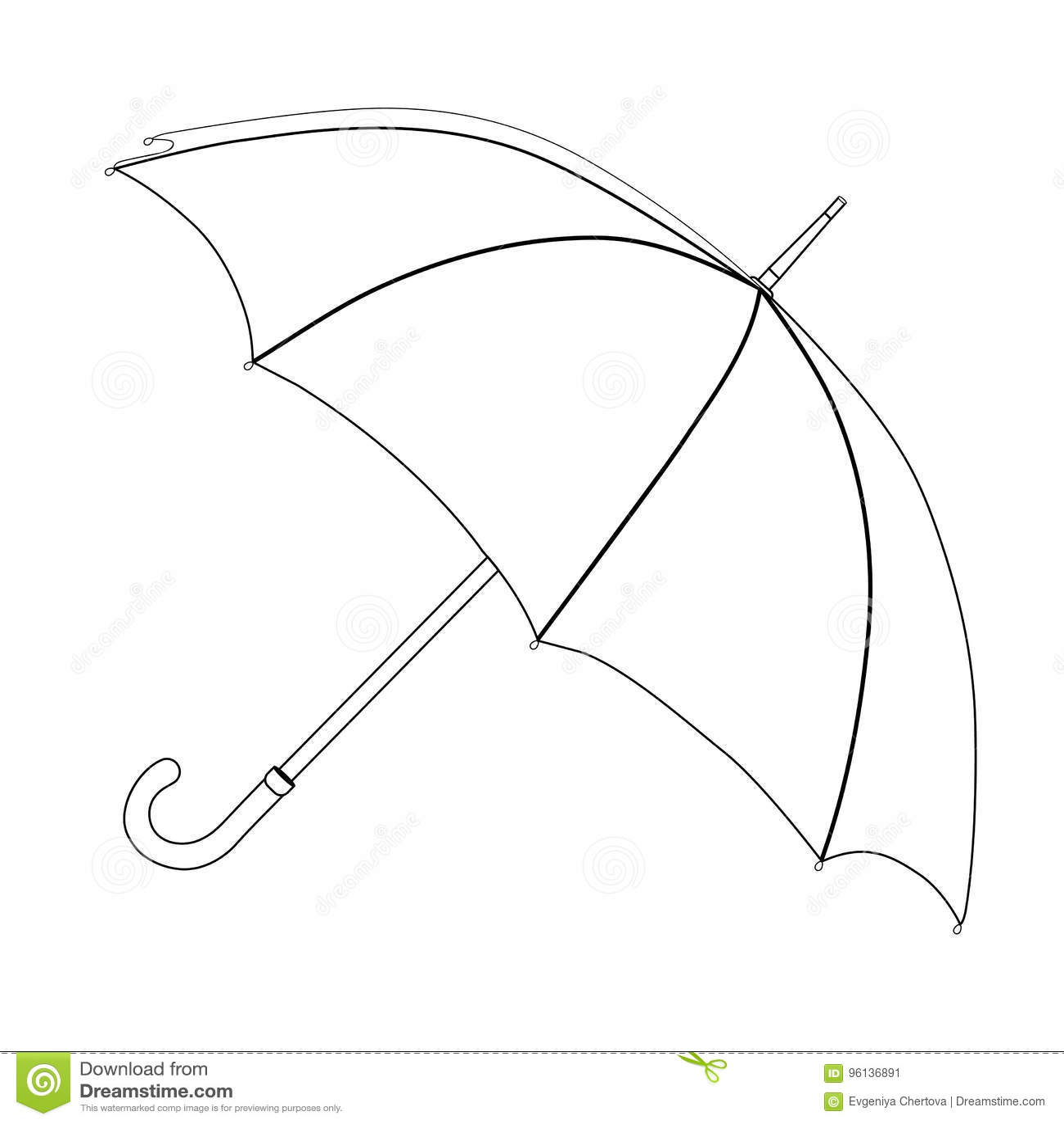 Umbrella Coloring Vector Sketch Black And White Open