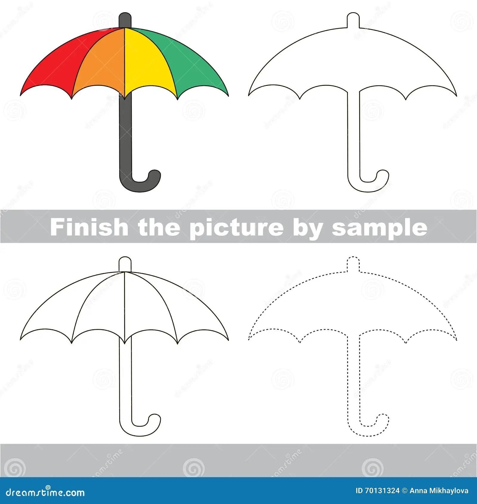 Umbrella Drawing Worksheet Stock Illustration
