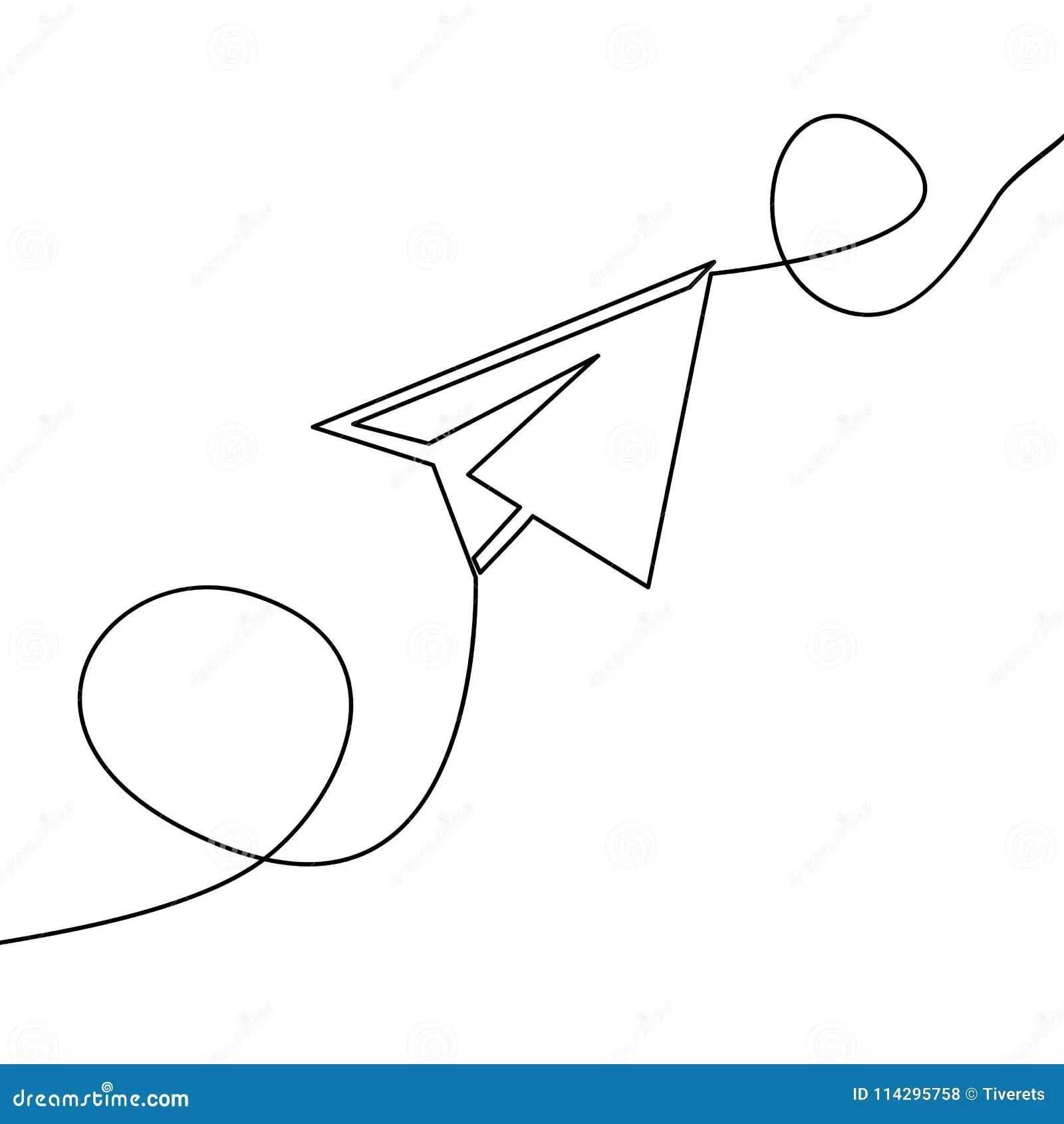 Un Continuo Aeroplano Di Carta Di Vettore Del Disegno A
