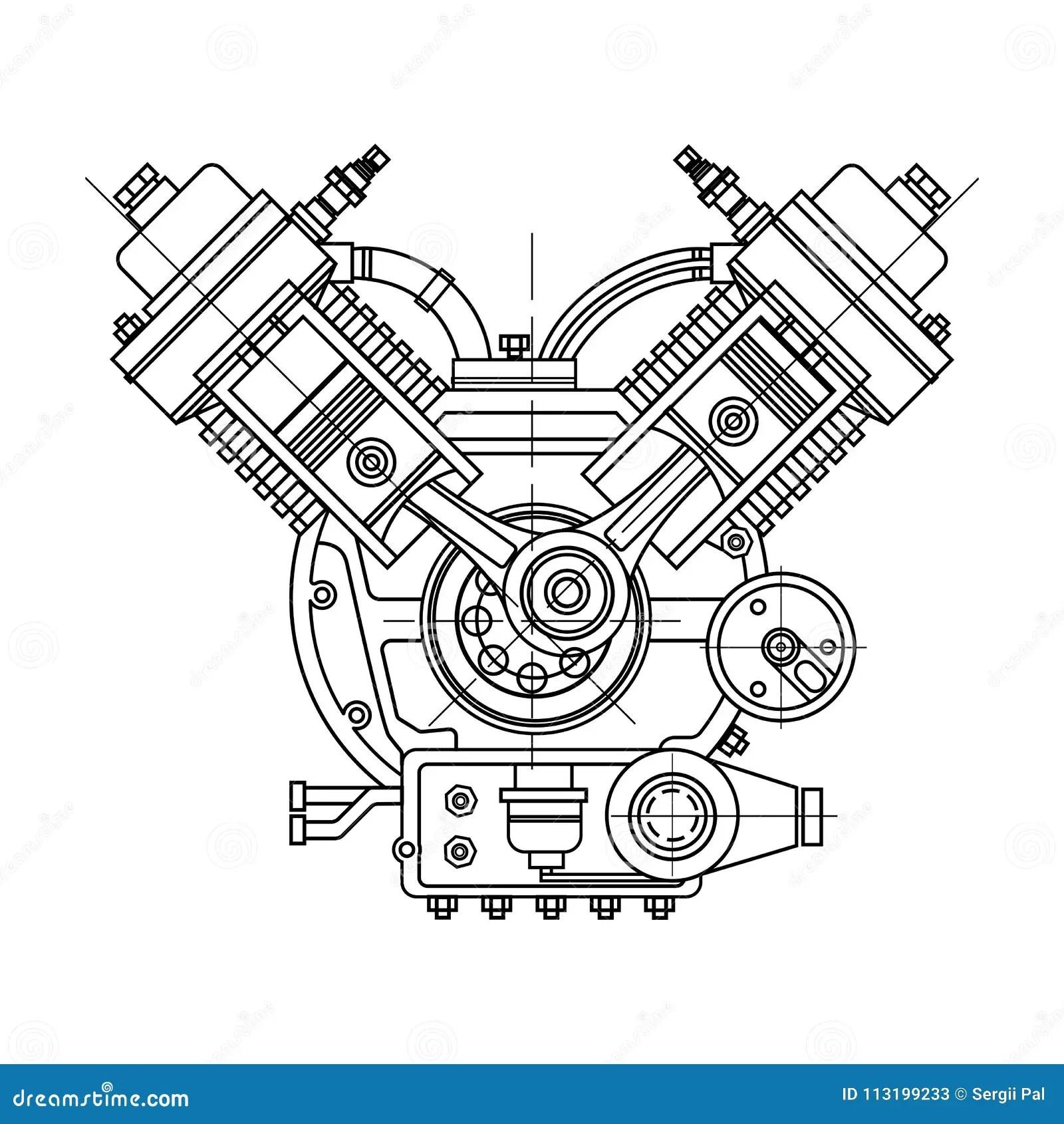 Un Motore A Combustione Interno Il Motore Del Disegno