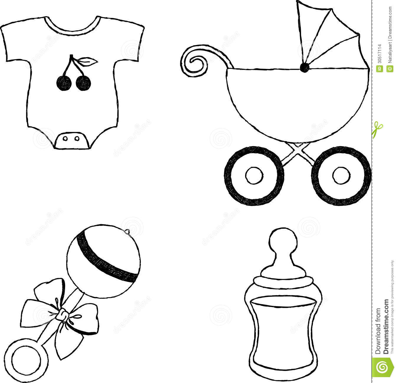 Uncolored Four Baby Stuff Icons Stock Vector