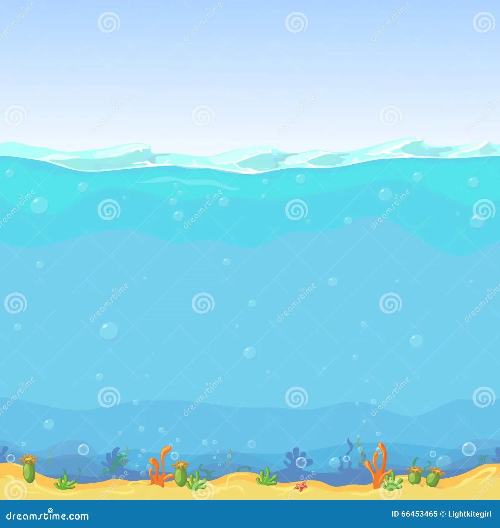 Underwater Seamless Landscape Cartoon Background For Game