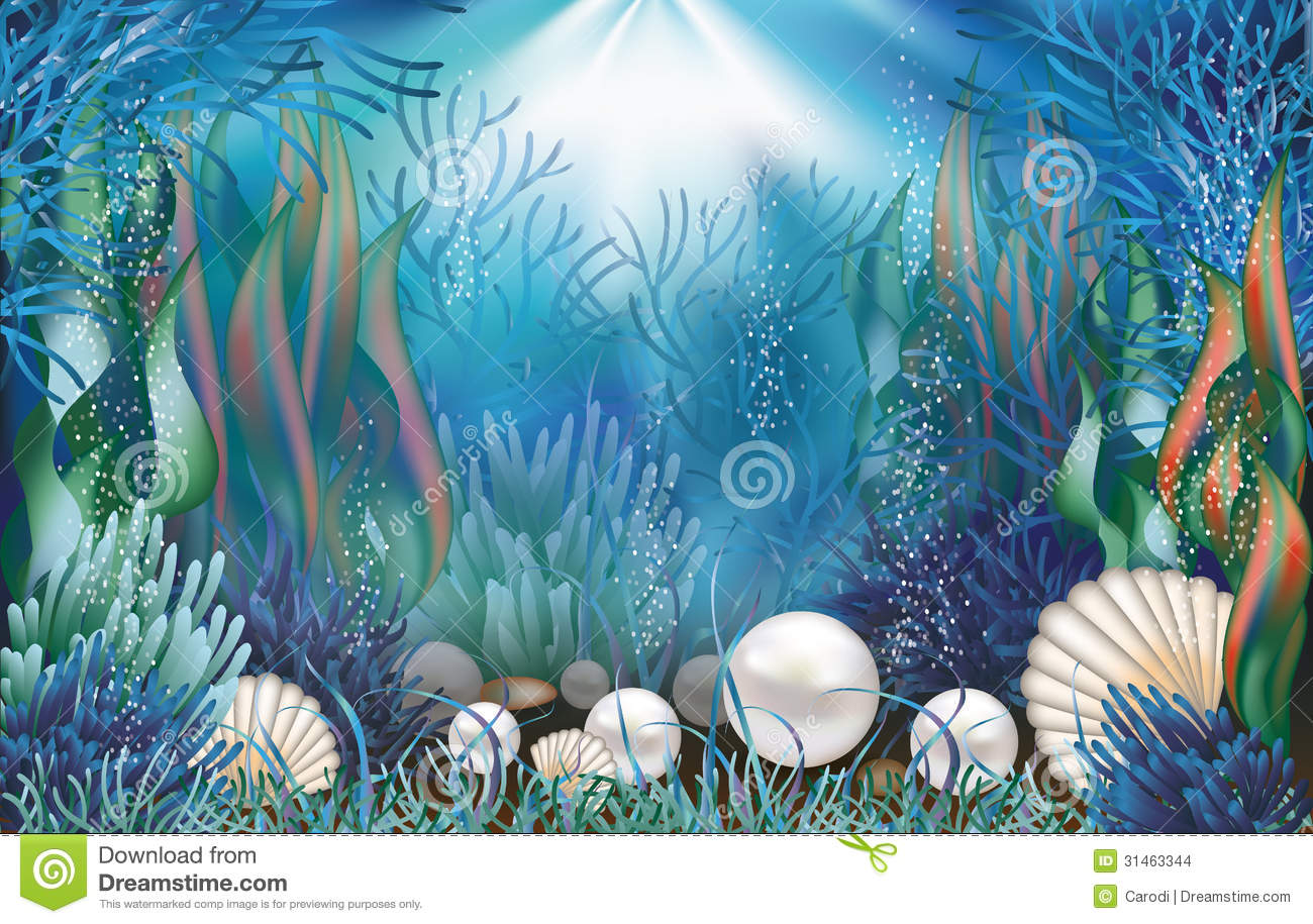 Underwater Wallpaper With Pearls Stock Images Image
