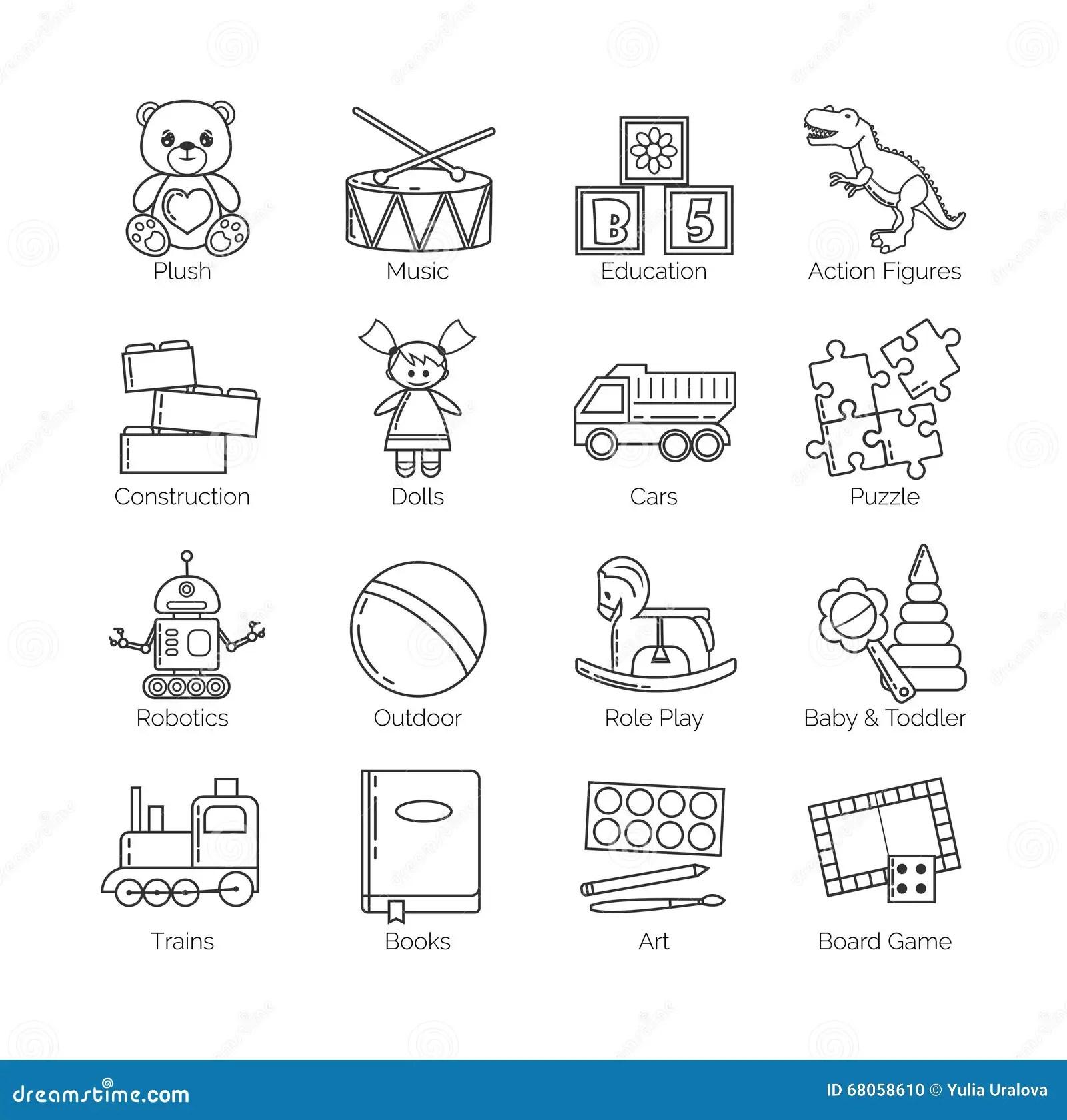 Une Collection De Ligne Mince Minimalistic Icones Pour