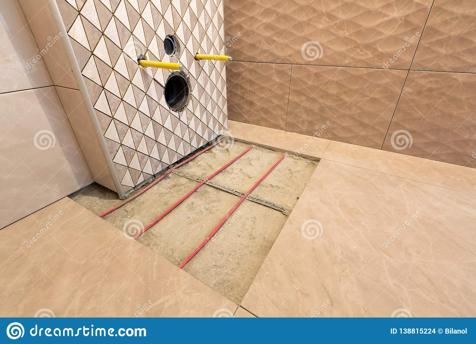 https www dreamstime com unfinished reconstruction bathroom ceramic tiles installed walls heating electrical cables system cement floor image138815224