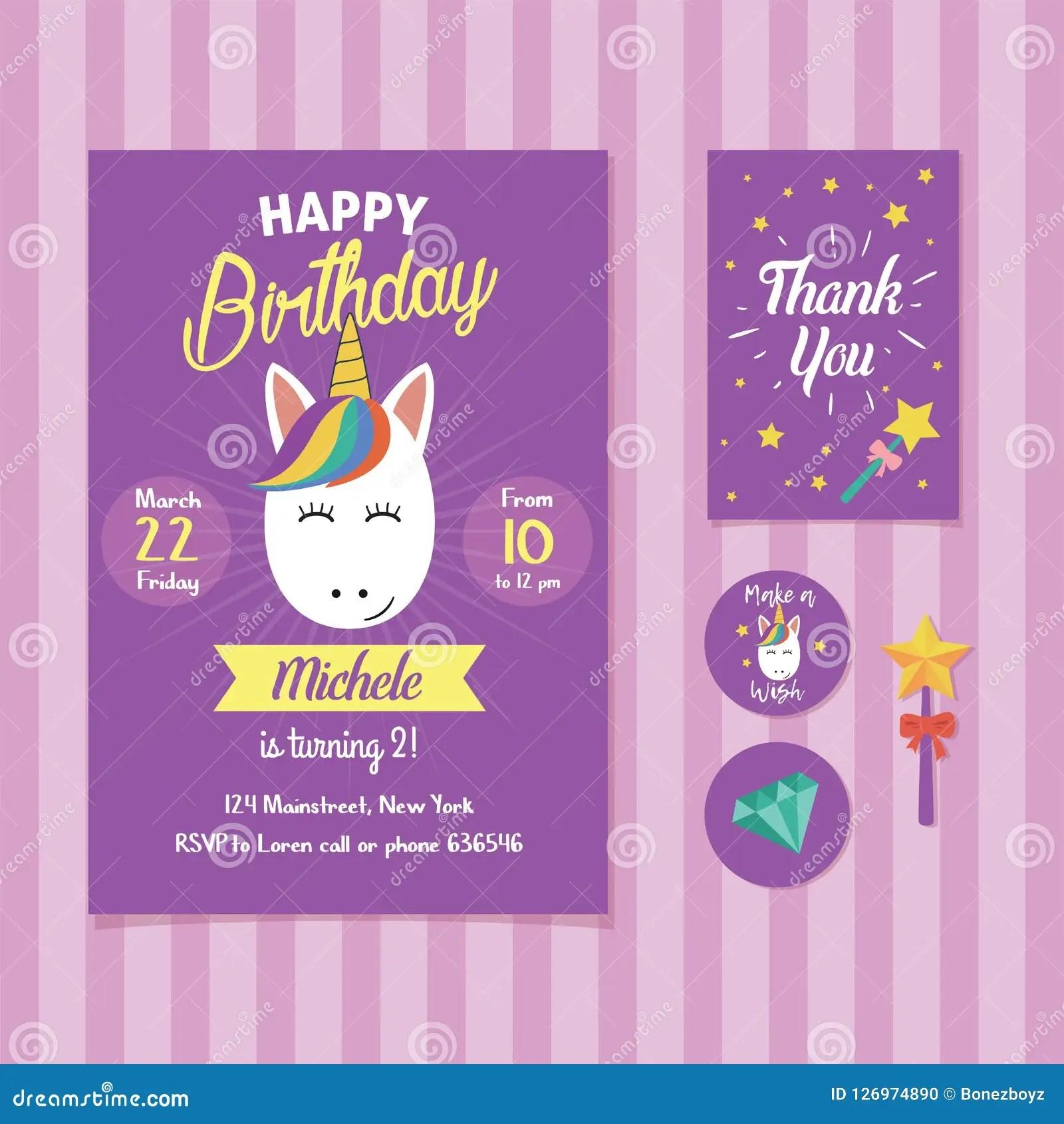 https www dreamstime com unicorn birthday invitation template cute face illustration party image126974890