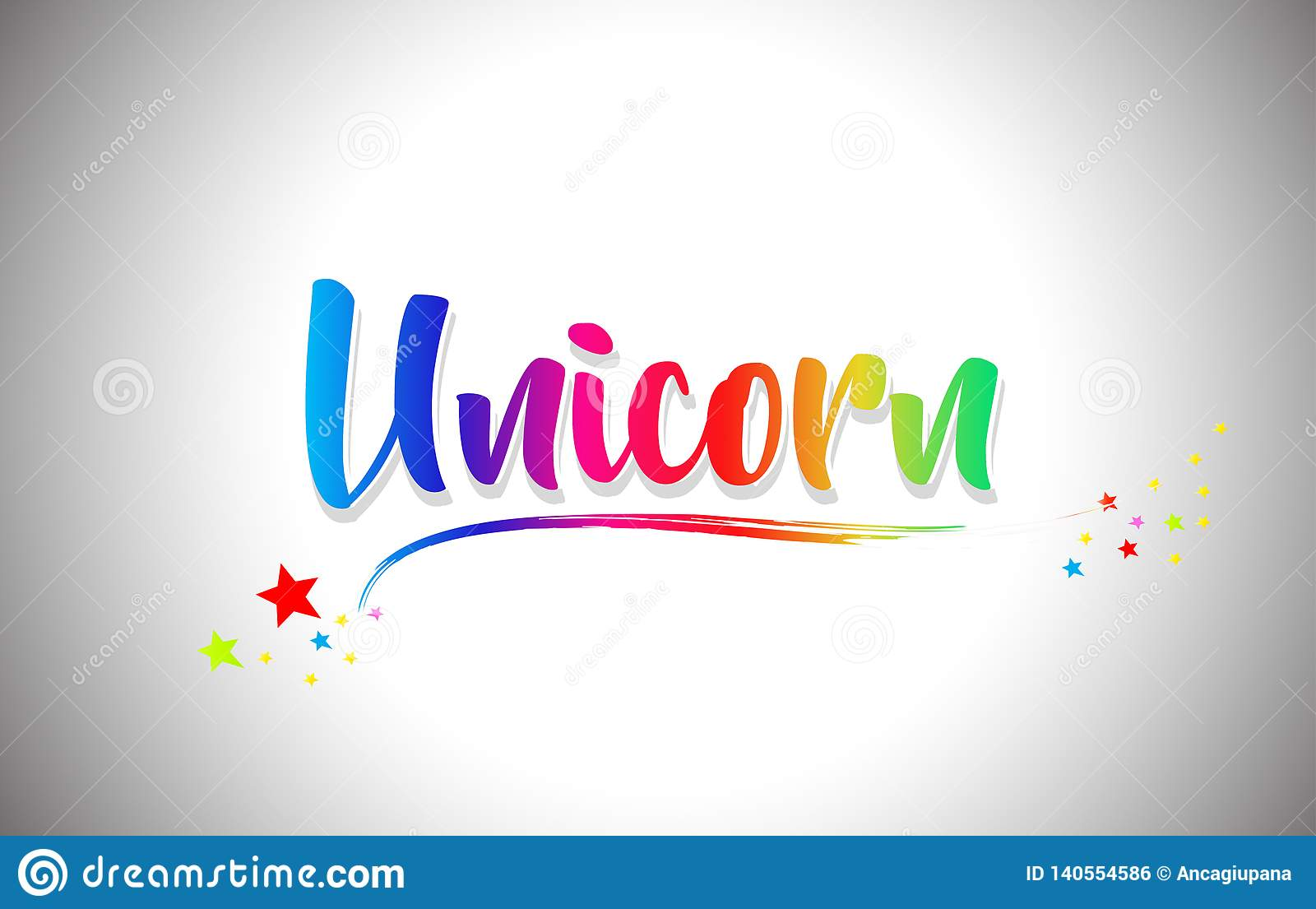 Unicorn Handwritten Word Text With Rainbow Colors And