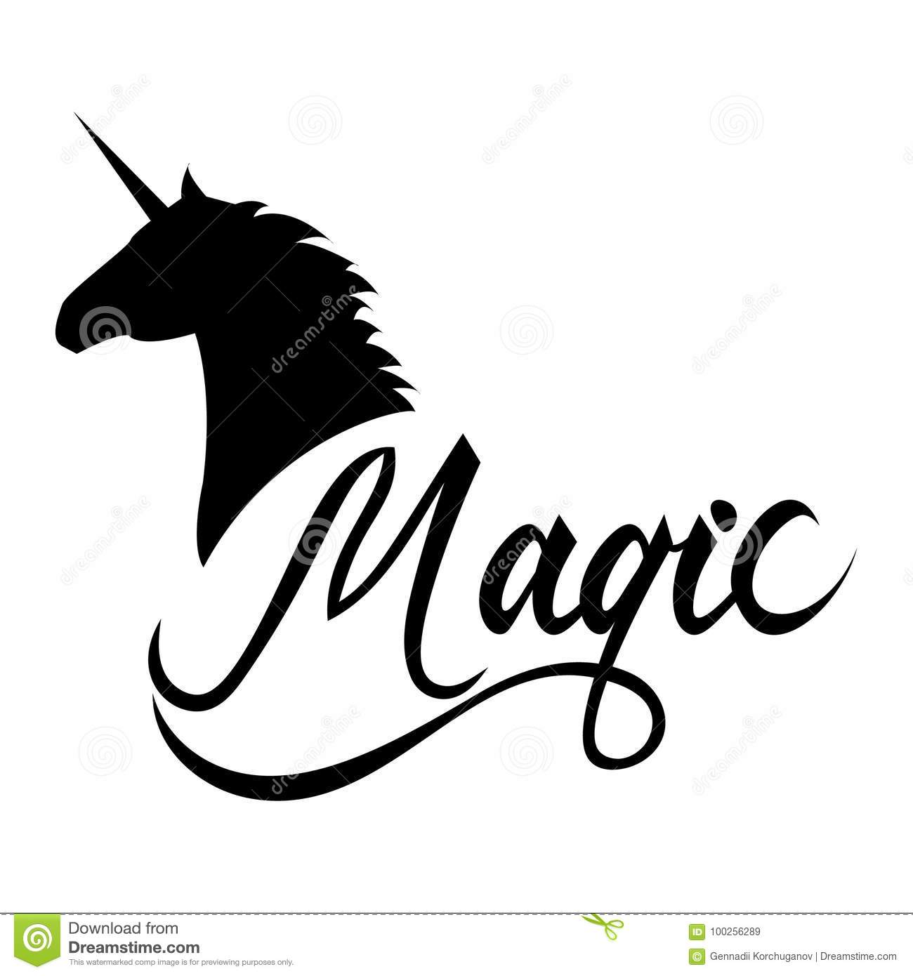 Unicorn Head Silhouette With Text Stock Vector