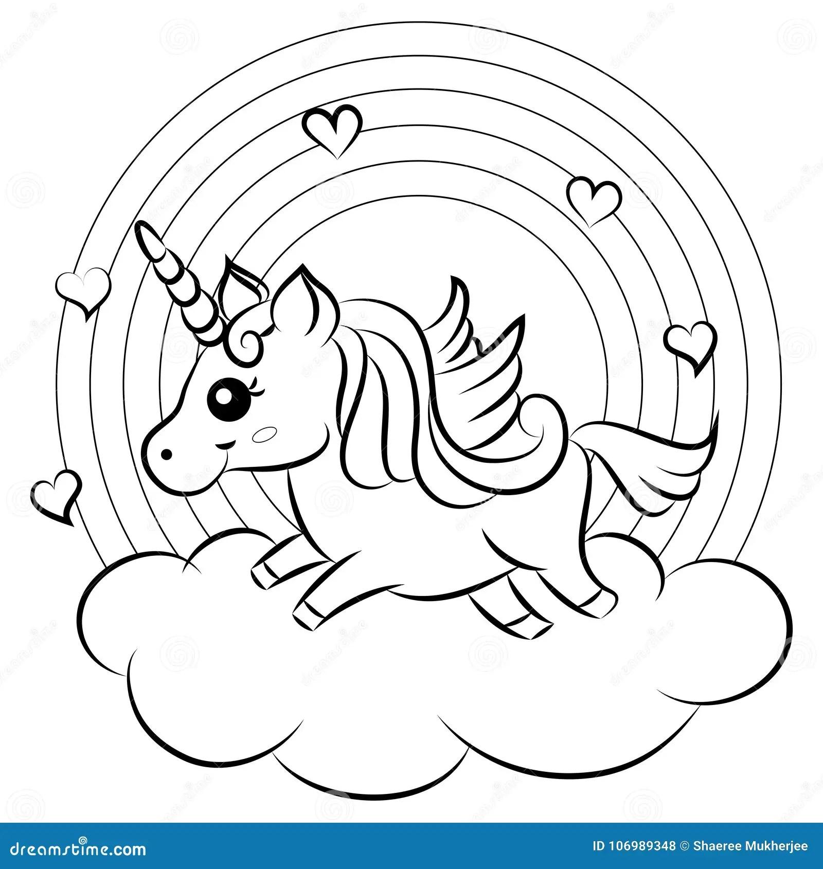 Unicornio arco iris varita magica vector boceto conjunto. Unicorno Sveglio Di Vettore Del Fumetto Con La Pagina Di