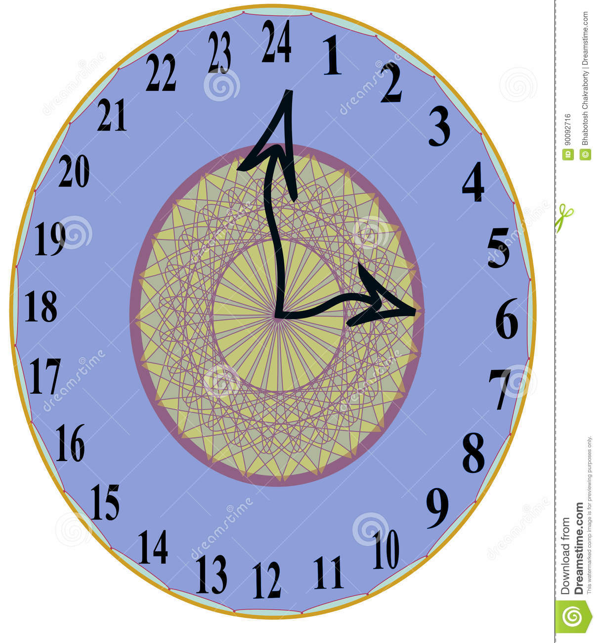 Unique Stylist 24 Hours Wall Clock Stock Photo