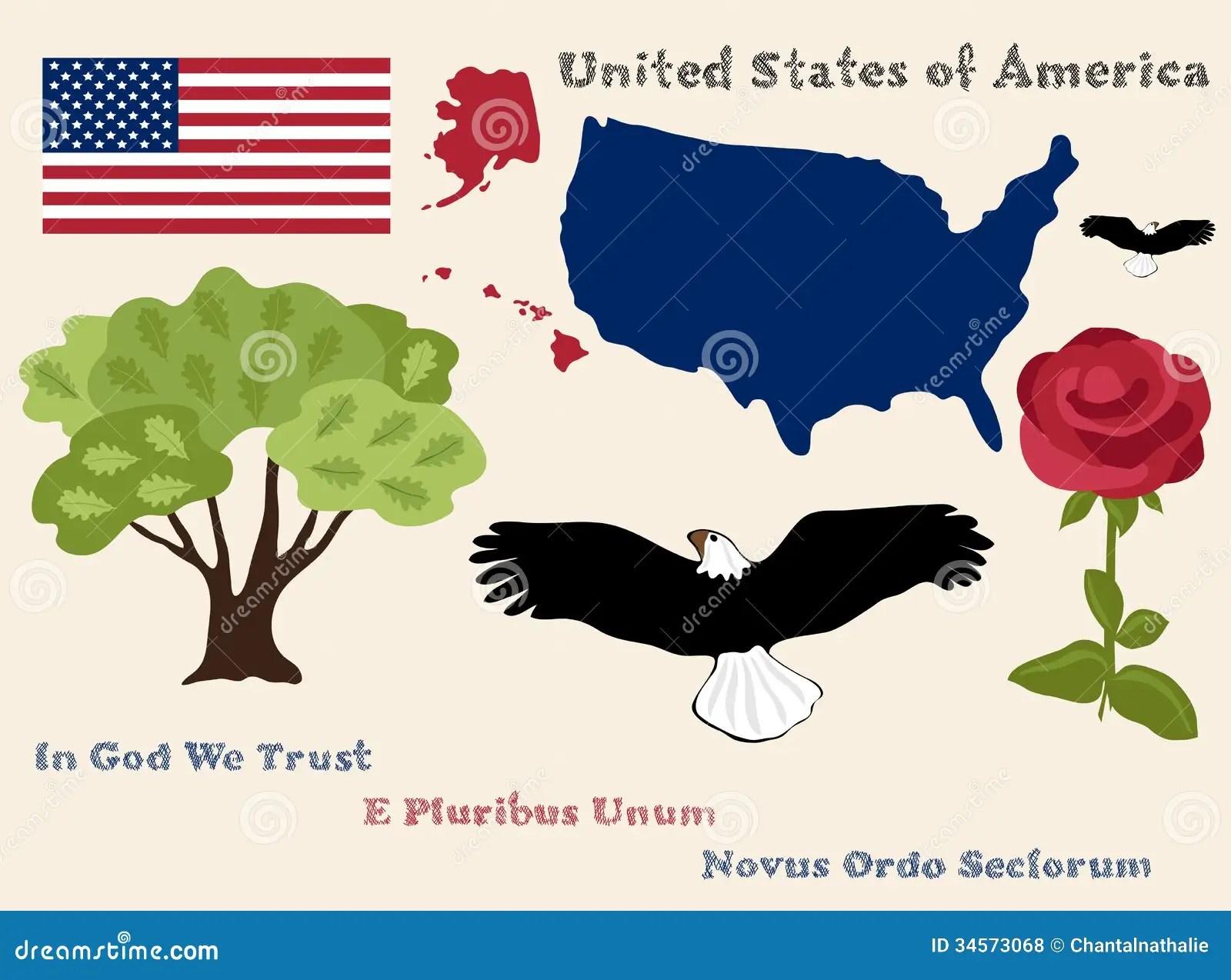 United States Of America Symbols Stock Vector