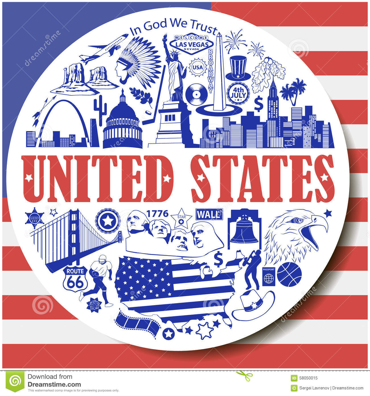 United States Round Background Set Vector Icons And