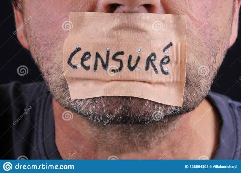 Censorship Concept In French With A Mouth Closed With An Adhesive ...