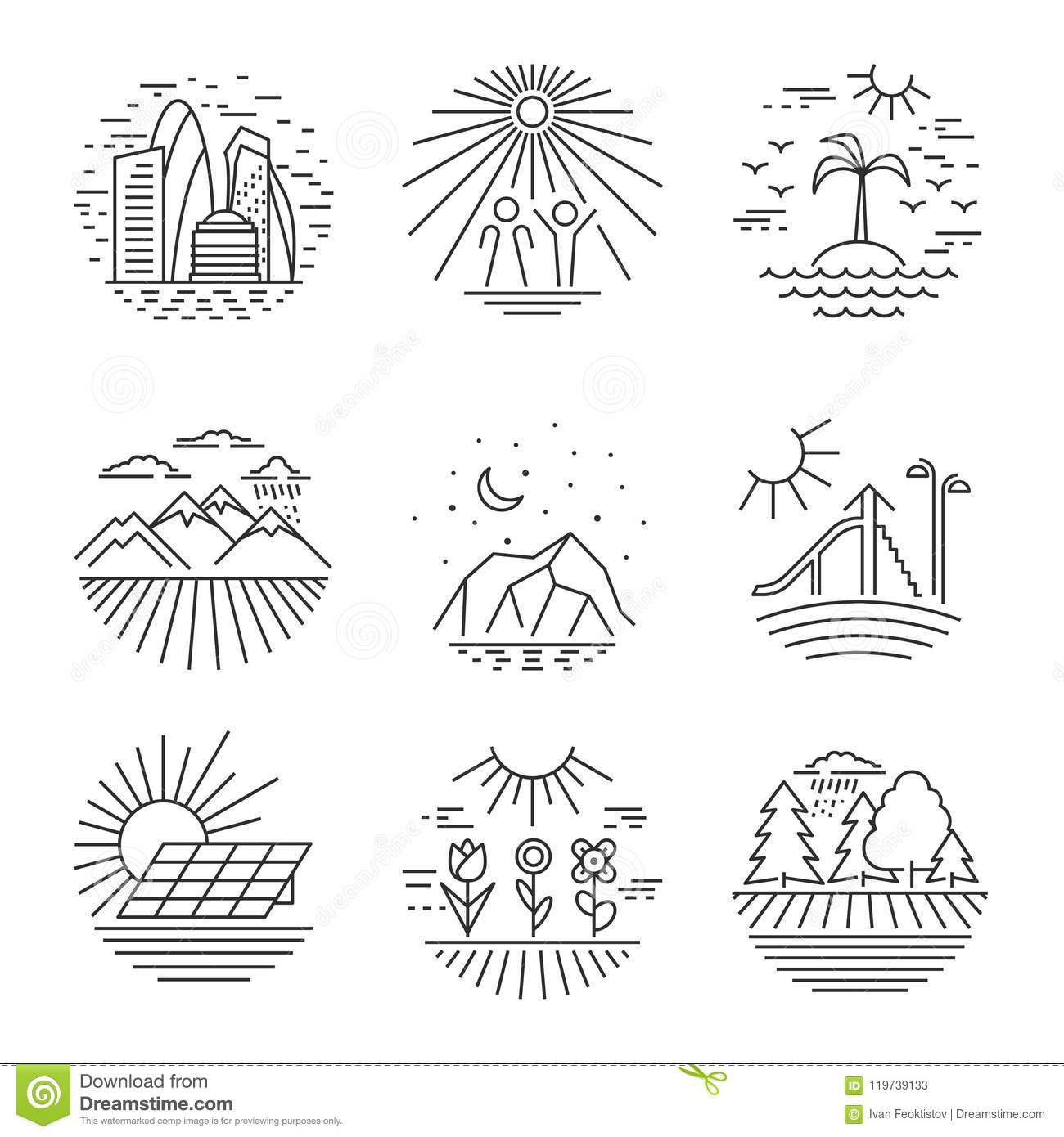 Urban And Nature Scenes Icons Stock Vector
