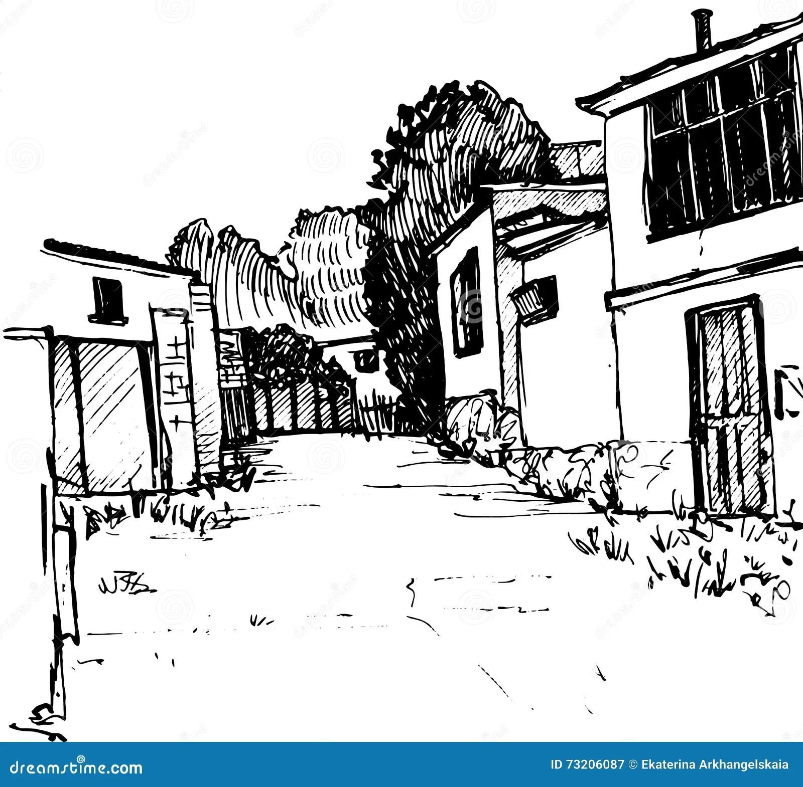 Urban Sketch Village Street Vector Illustration Stock