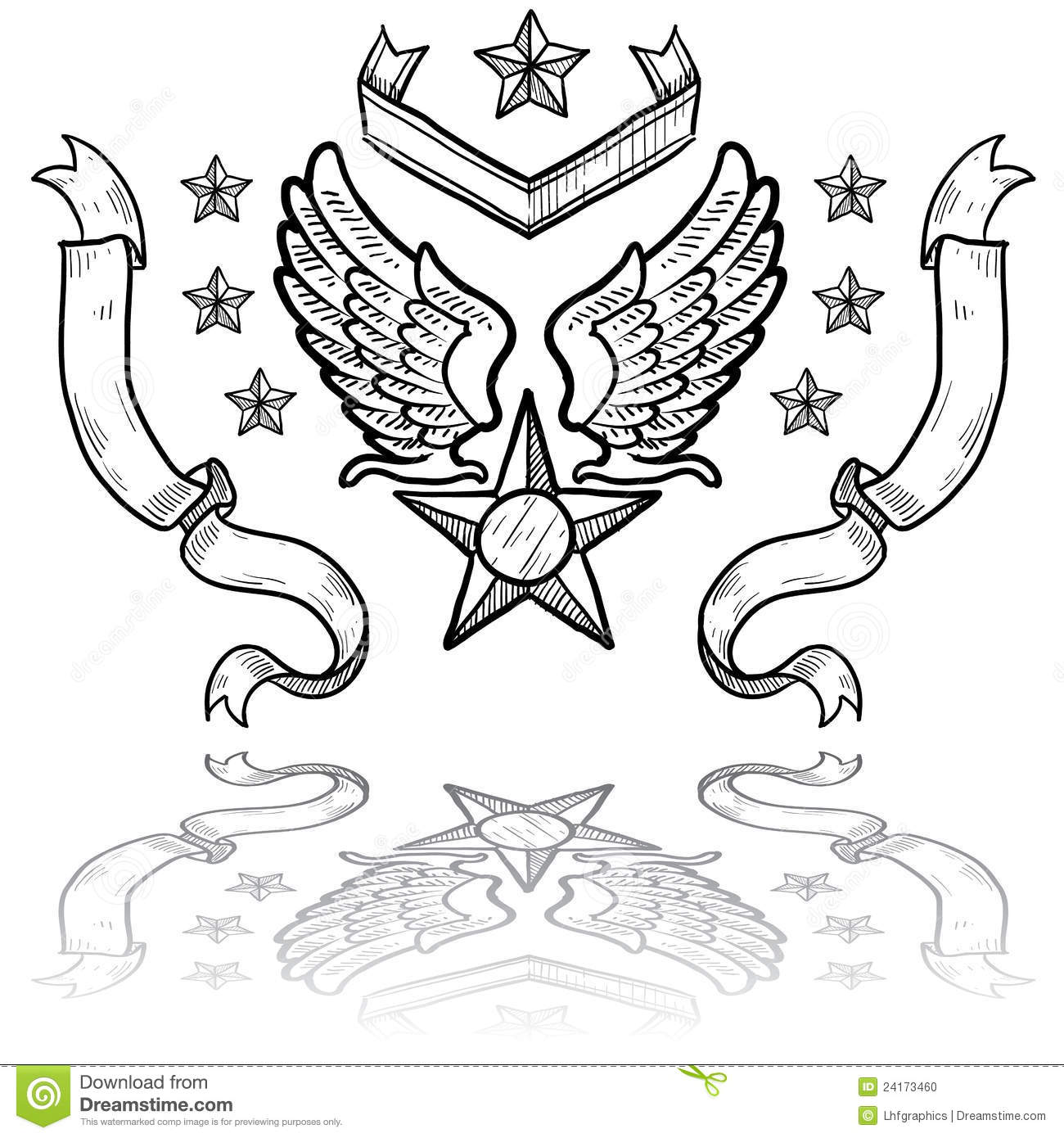 Us Air Force Insignia With Ribbons Stock Photo