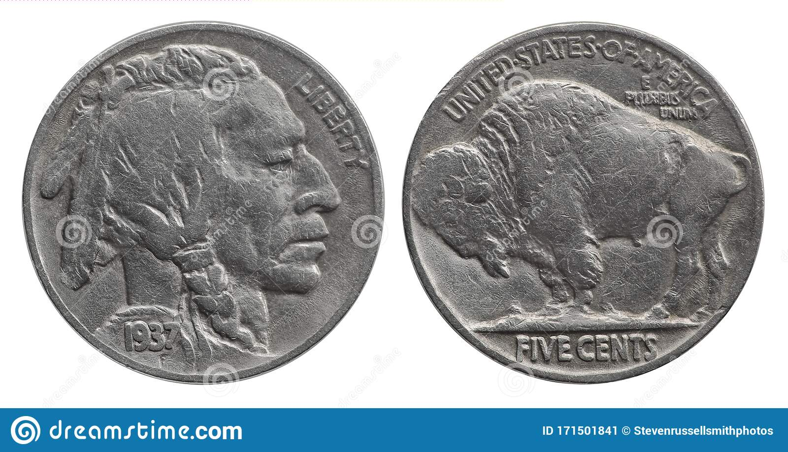 Front And Back View Of A United States Buffalo Nickel