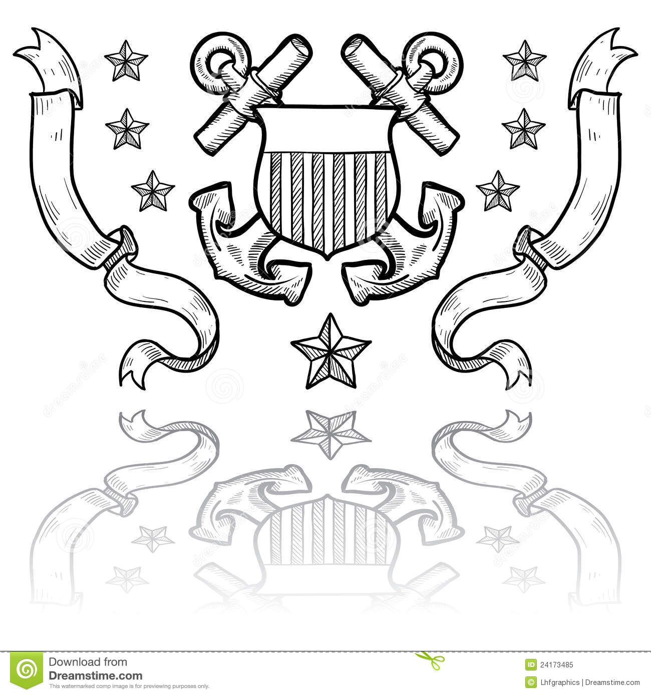 Us Coast Guard Insignia With Wreath Royalty Free Stock