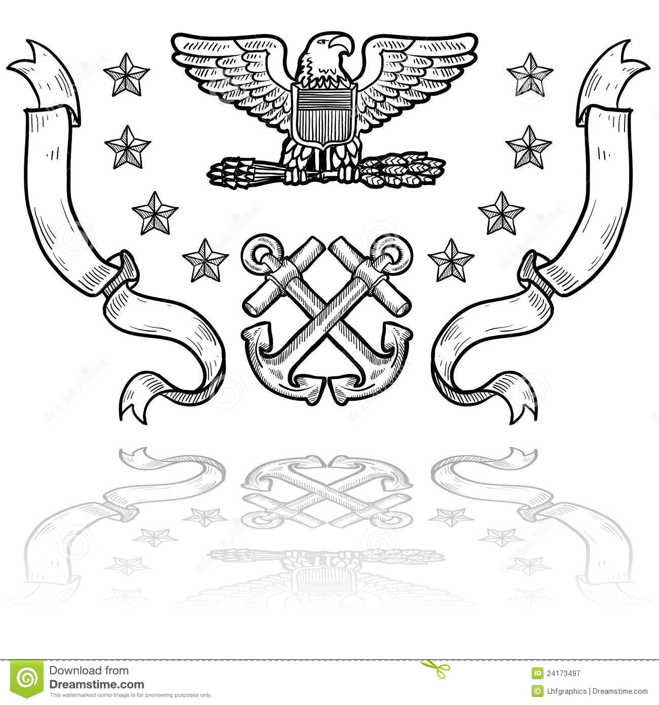 Us Navy Insignia With Ribbons Royalty Free Stock