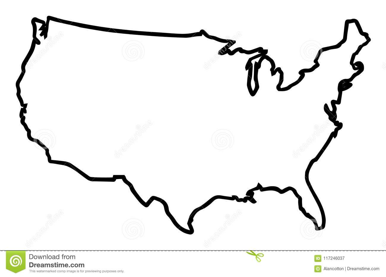 Usa Broad Outline Map Stock Vector Illustration Of
