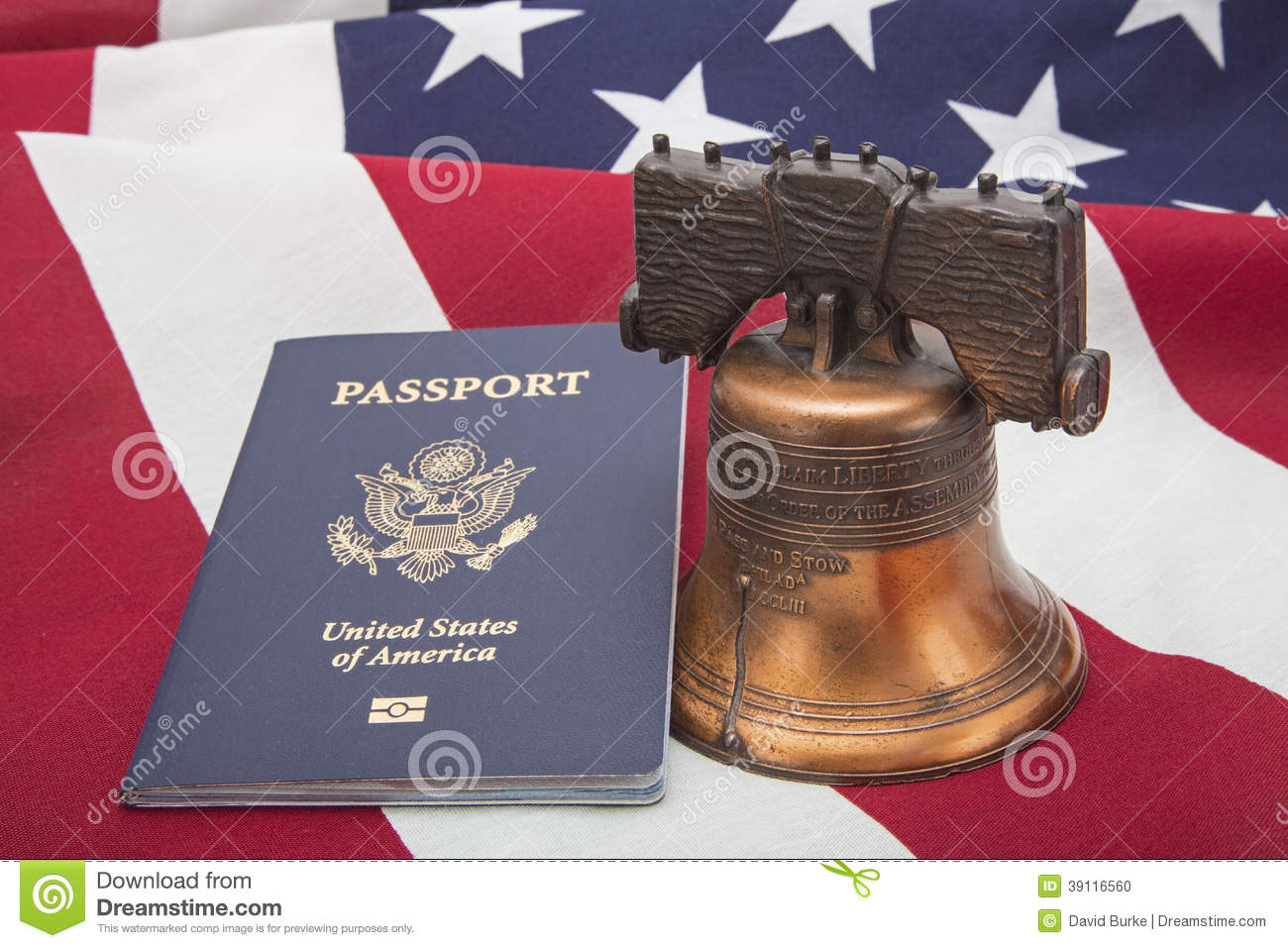 Usa Flag Liberty Bell Passport Success Concept Stock Photo