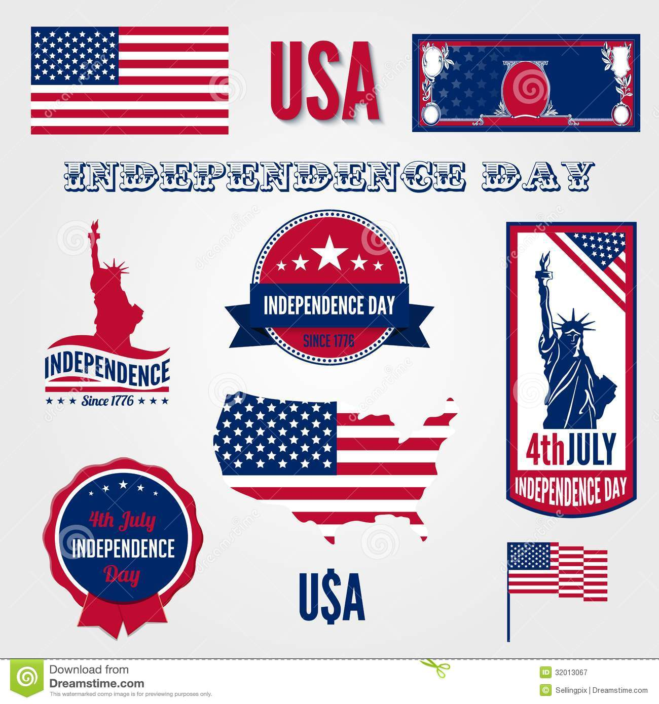 Usa Independence Day Vector Design Template Elemen Stock