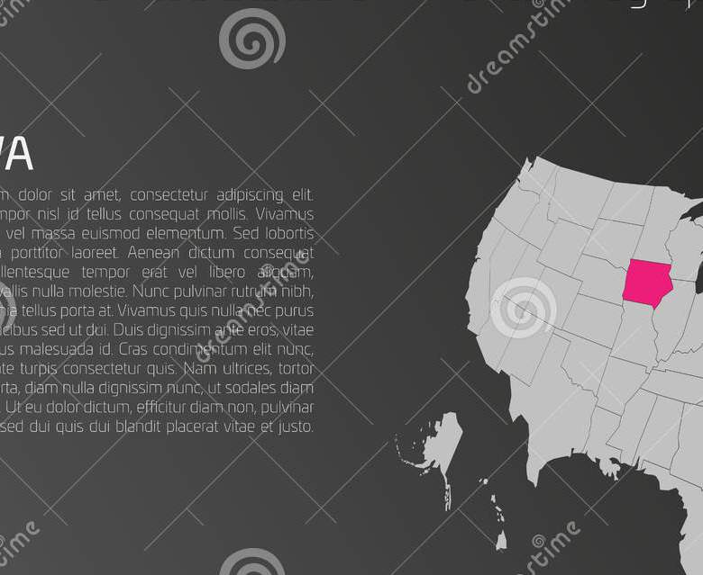 HD Decor Images » USA Map Infographics Template With Highlighted Iowa Stock Vector     USA map infographics template with highlighted Iowa