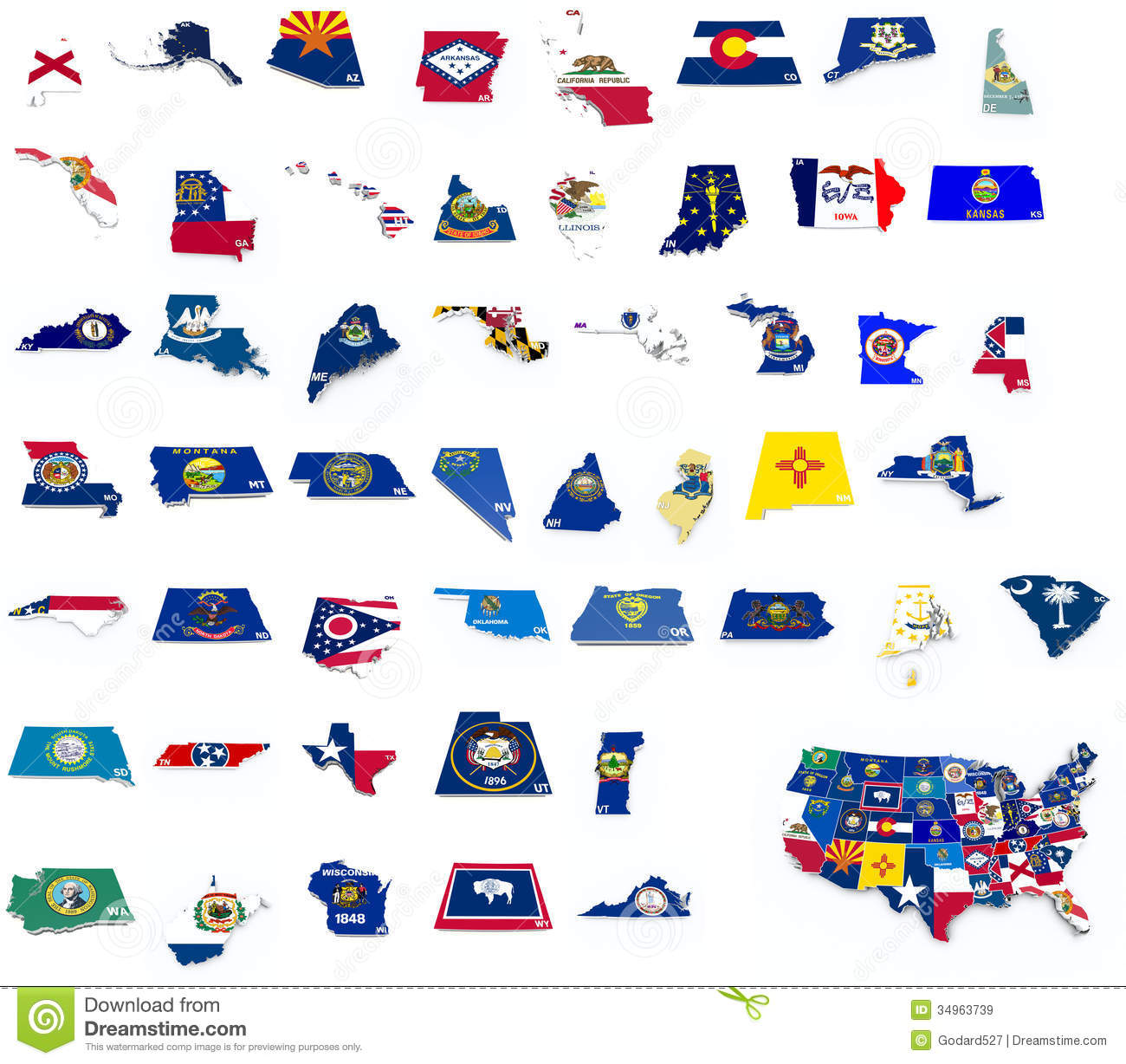 Usa State Flags On 3d Maps Stock Illustration