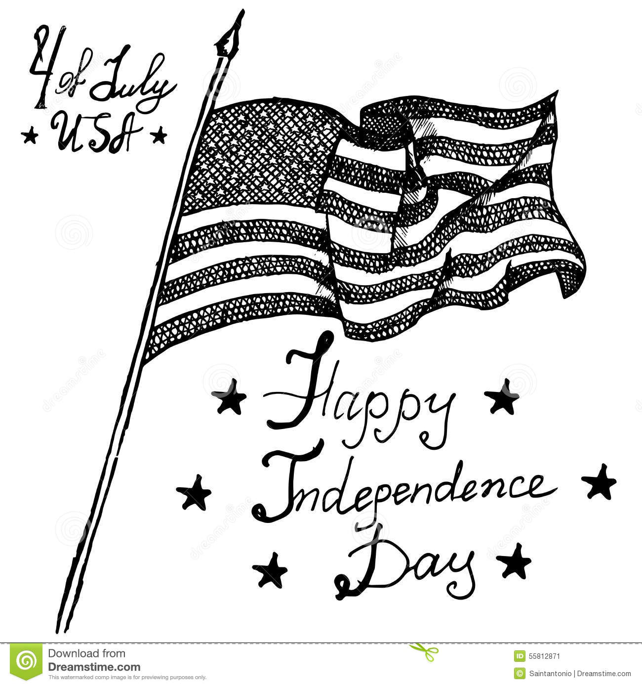 Usa Waving Flag American Symbol Forth Of July Hand Drawn Sketch Text Happy Independence Day