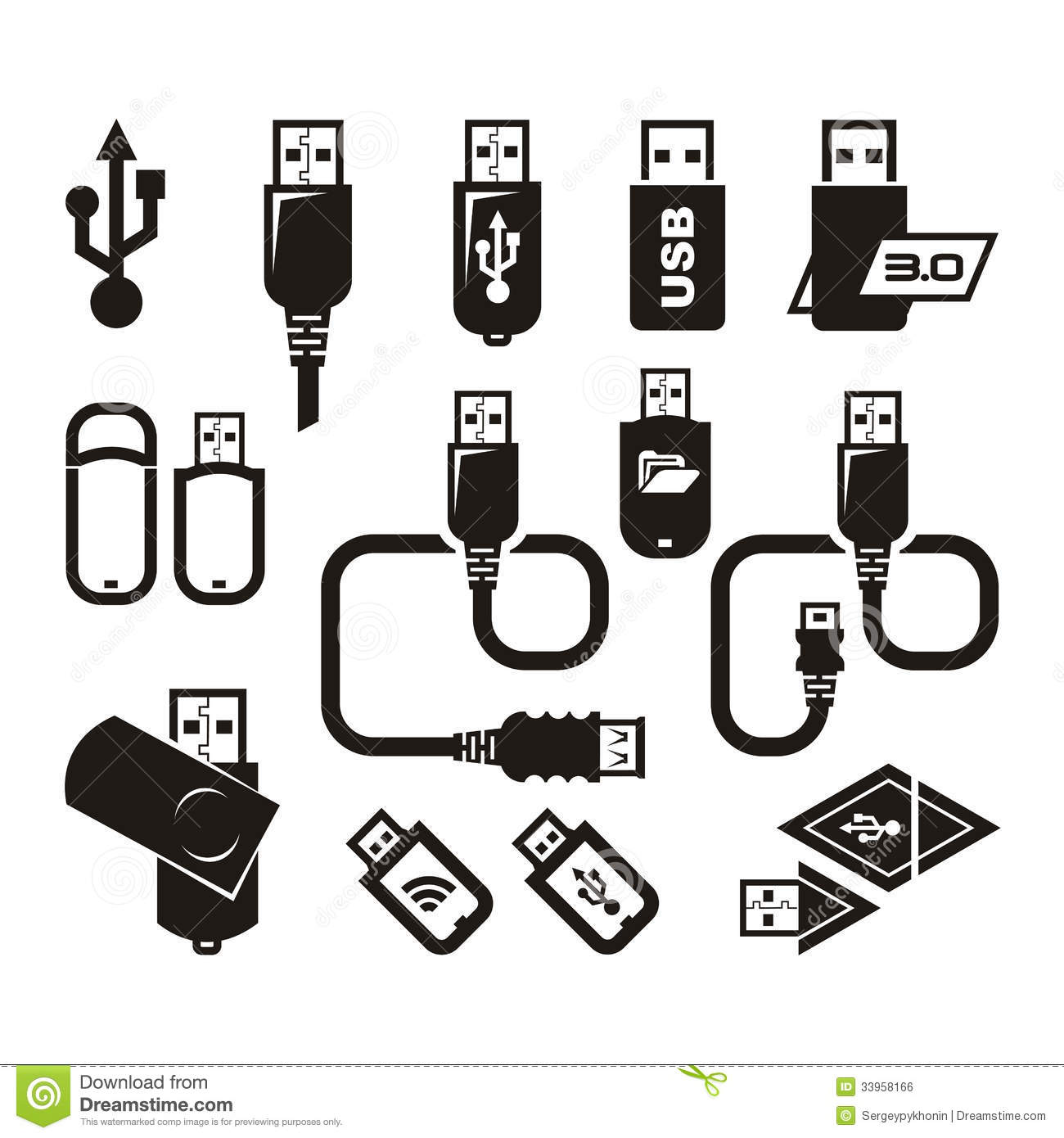 Usb Icons Vector Format Royalty Free Stock Image
