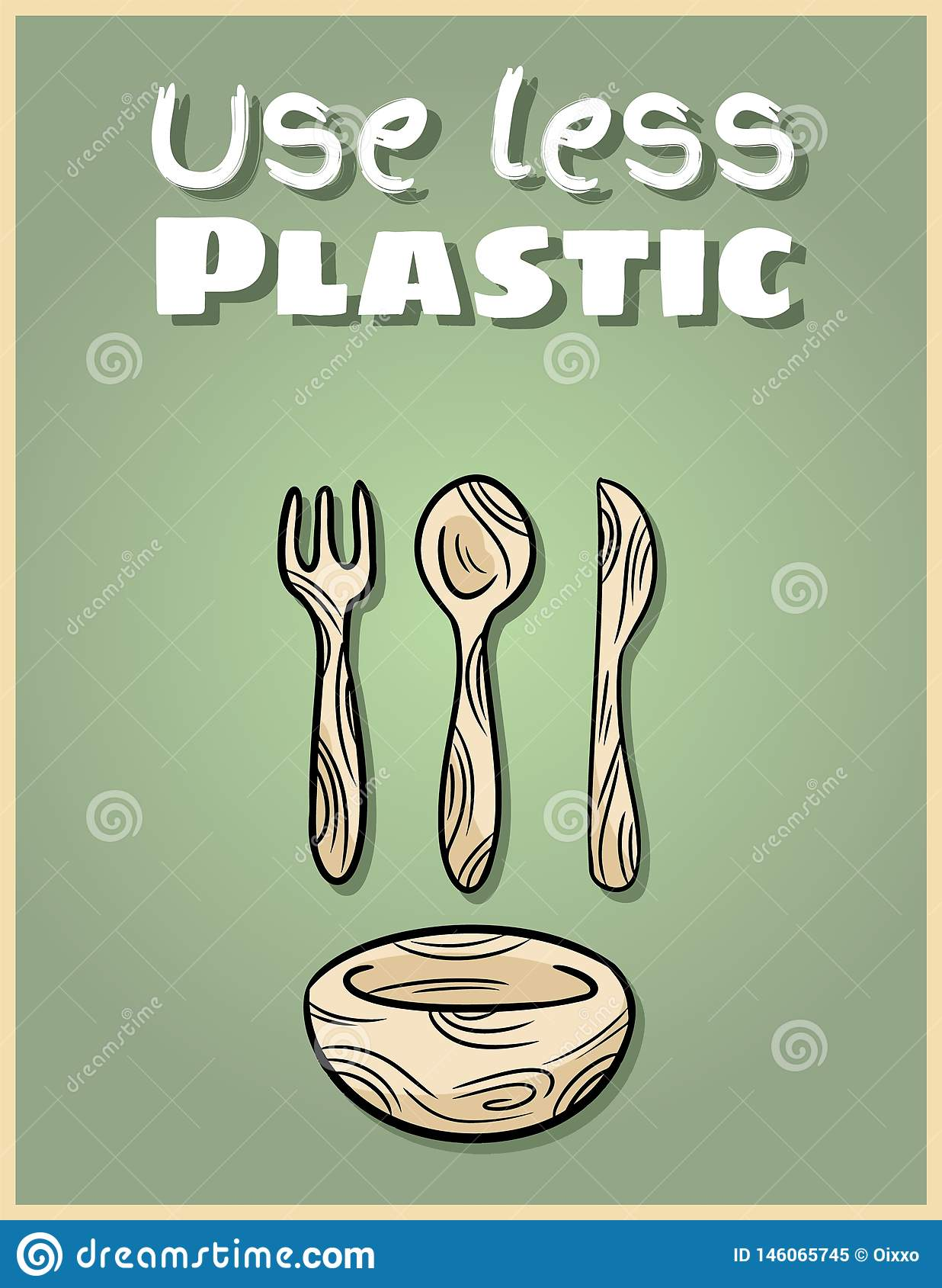Use Less Plastic Bamboo Dishware Poster Motivational