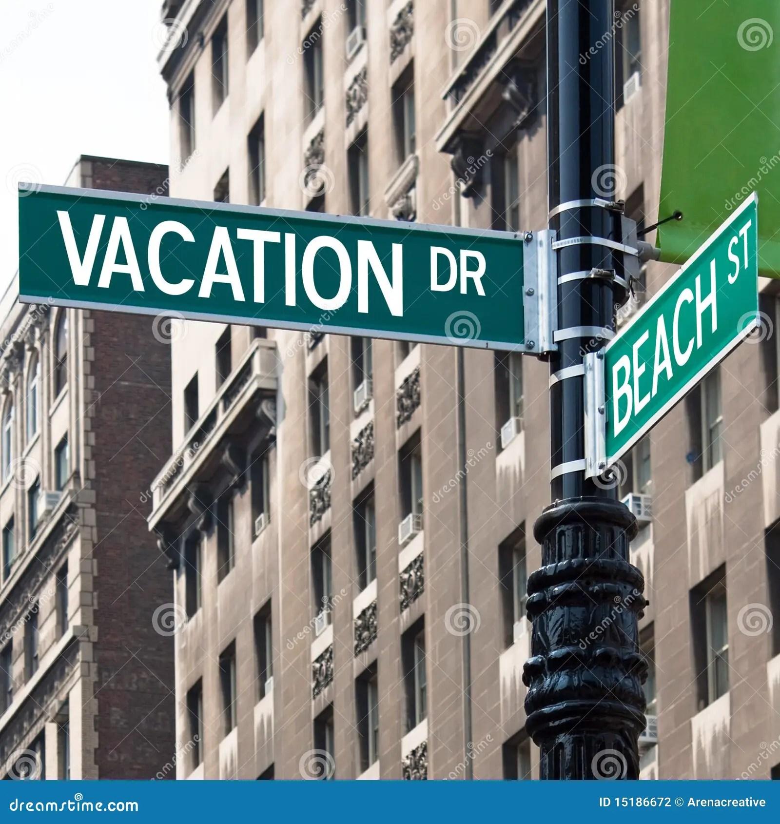 Vacation Street Corner Signs Stock Photo