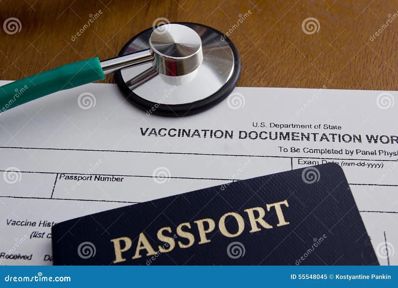 Vaccination Documentation Worksheet Stock Image
