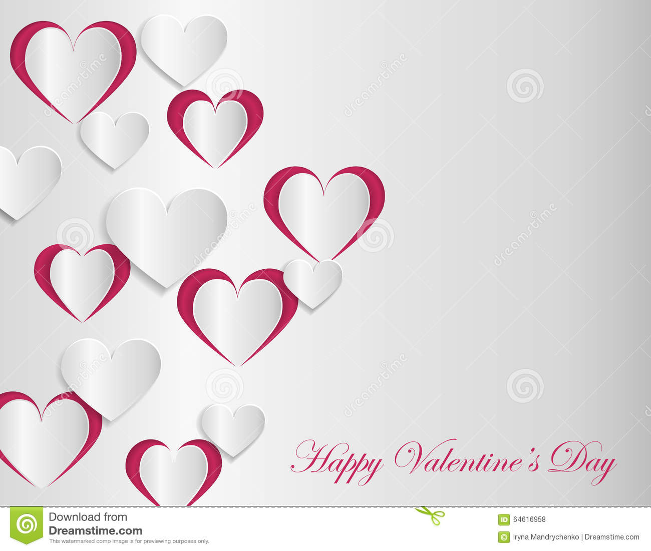Valentine Card Template With Cut Paper Hearts Stock Vector Illustration Of Layout Paper 64616958