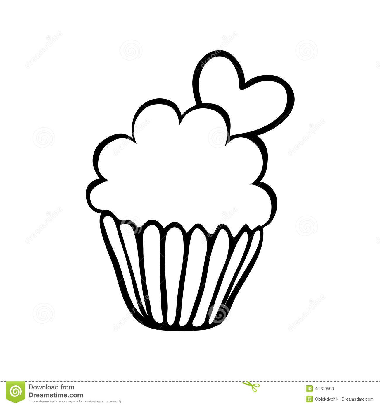 Valentine Cupcake Sketch With One Heart Stock Vector
