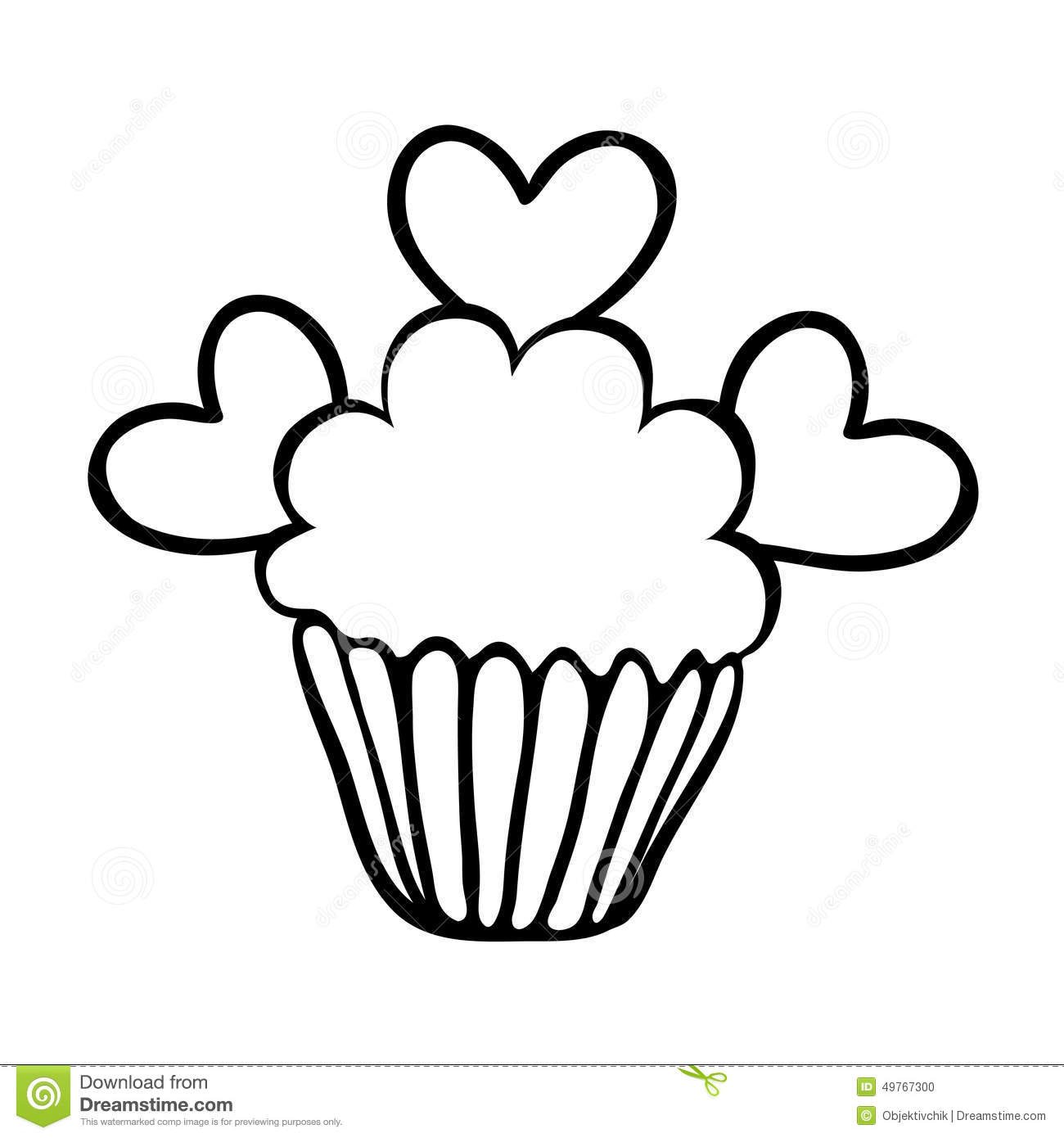 Valentine Cupcake Sketch With Three Hearts Stock Vector