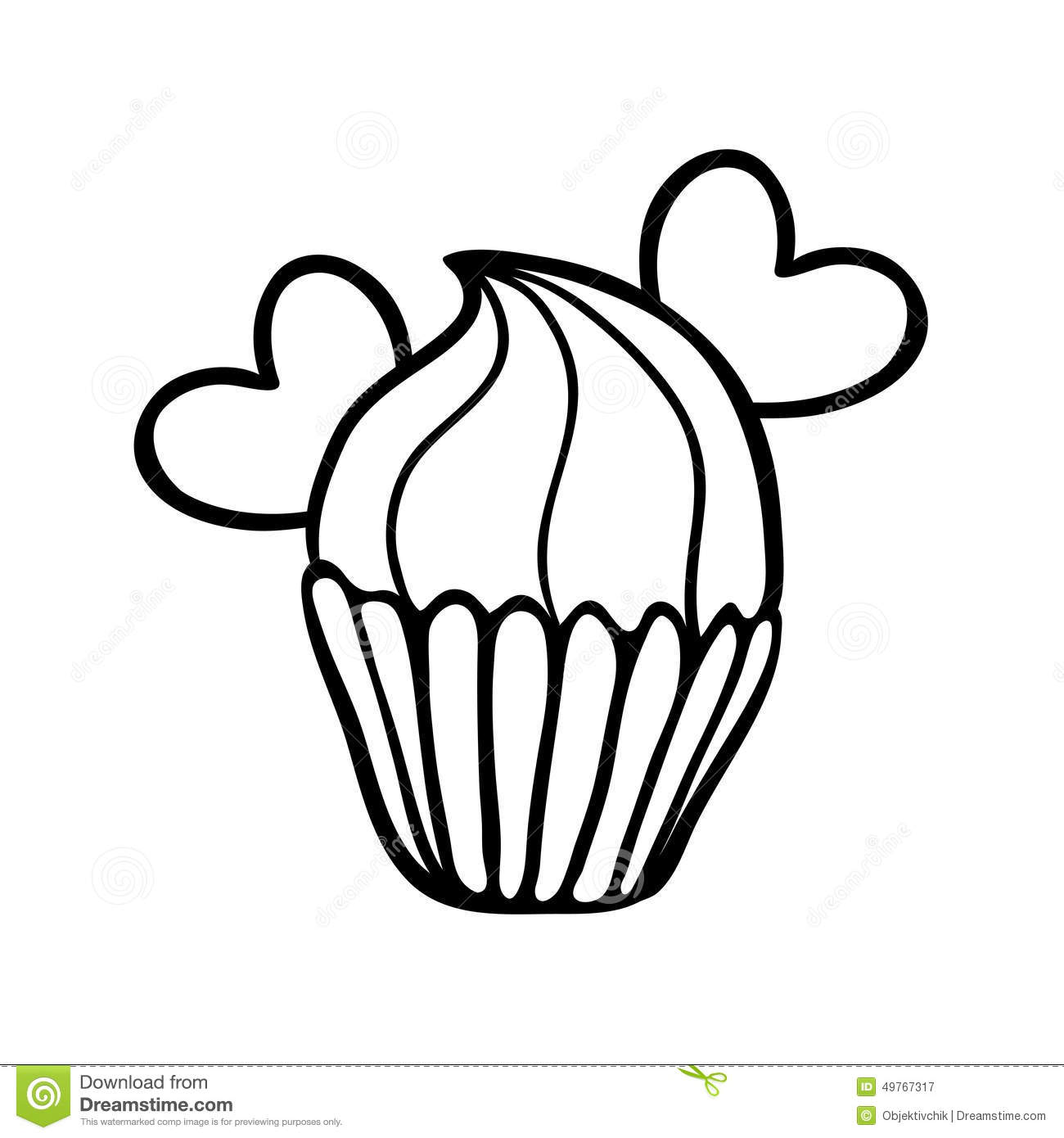 Valentine Cupcake Sketch With Two Hearts Stock Vector