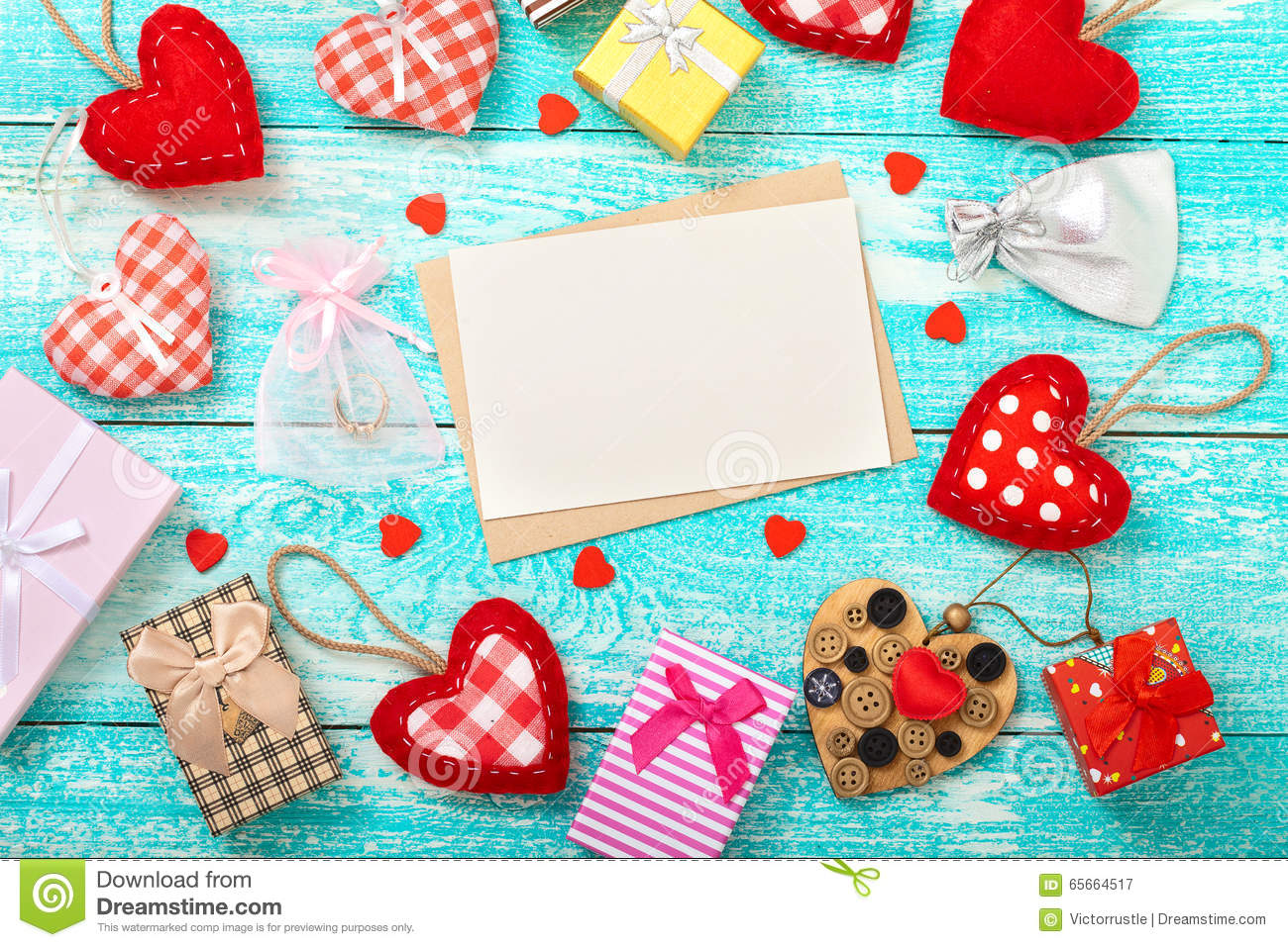 Valentine S Day Background With Heart Shapes On Wooden
