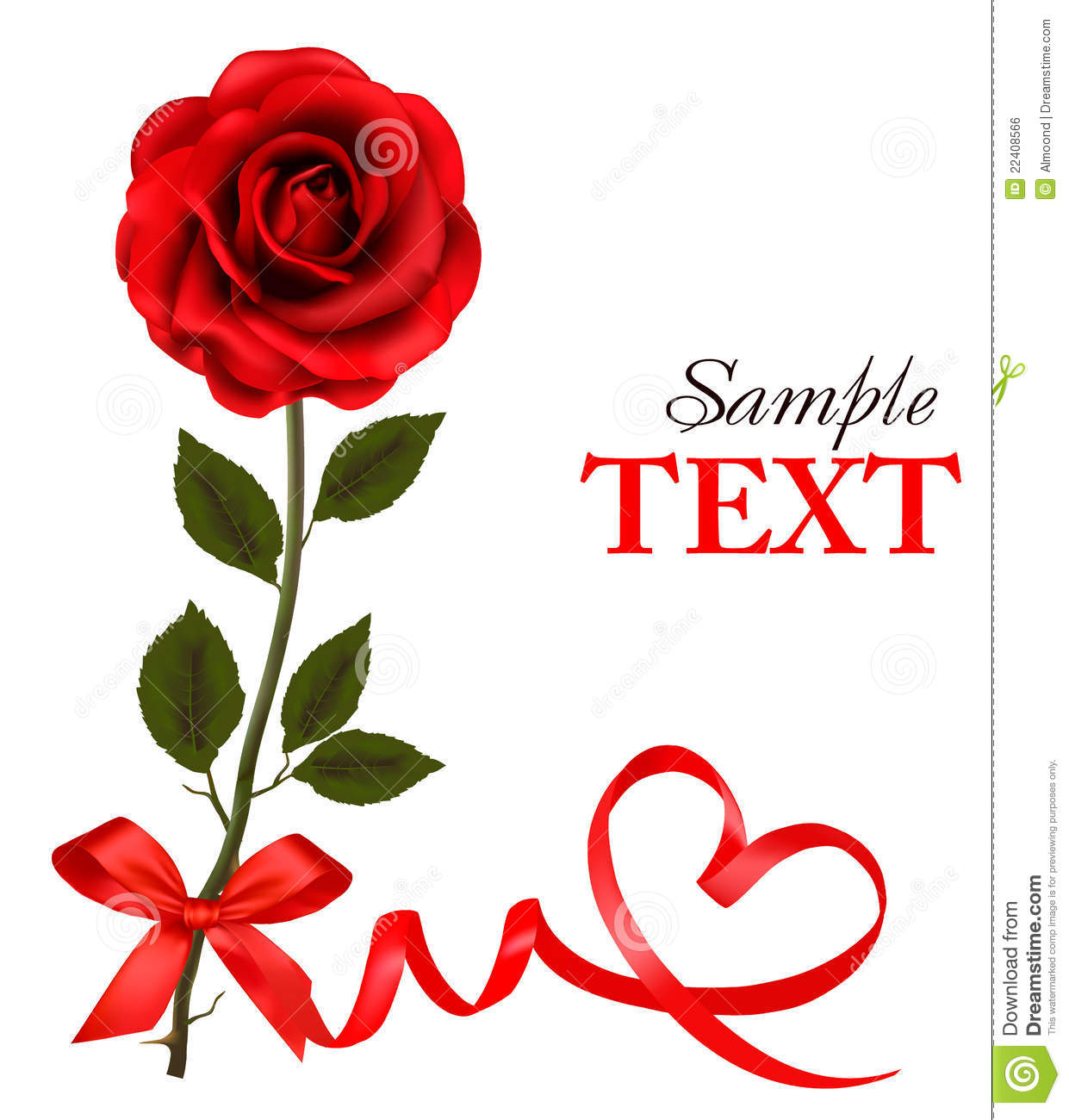 Valentines Day Card Red Roses And Gift Red Bow Vector