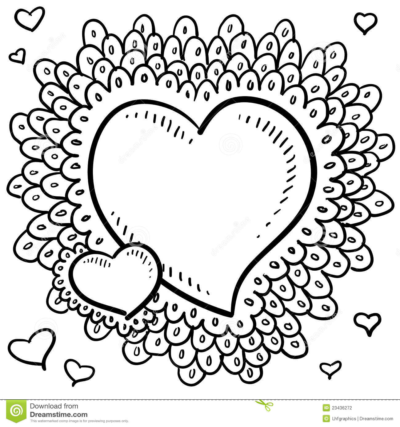 Valentine S Day Heart With Elaborate Lace Border Stock Photography