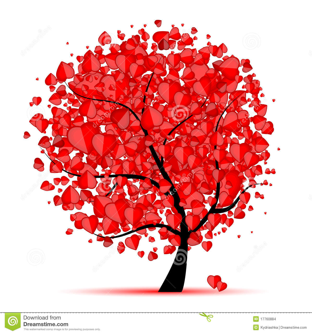 Valentine Tree Love Leaf From Hearts Stock Vector