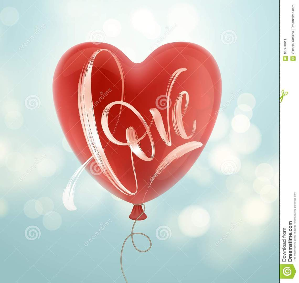 Download Valentines Day Card With Love Lettering And Red Balloon ...