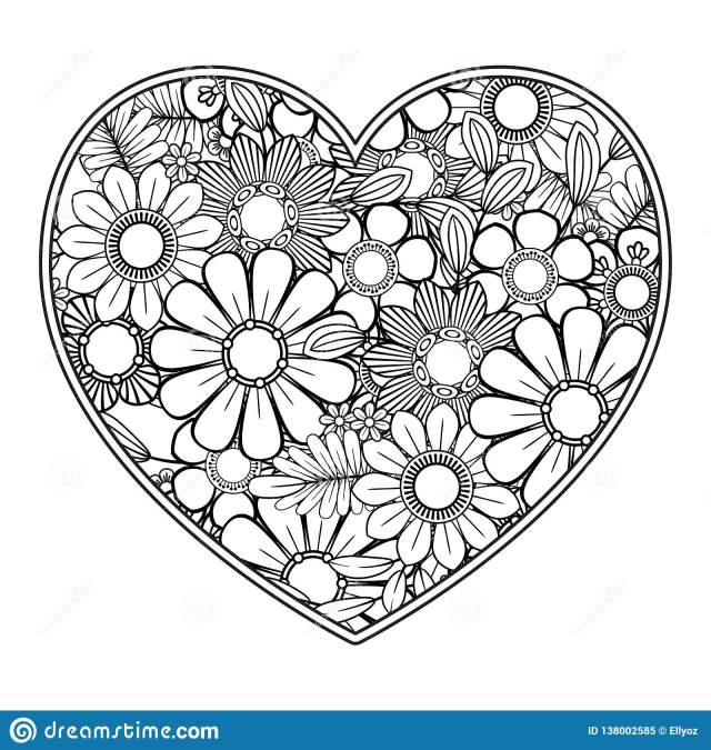 Valentines Day Coloring Page Stock Vector - Illustration of line