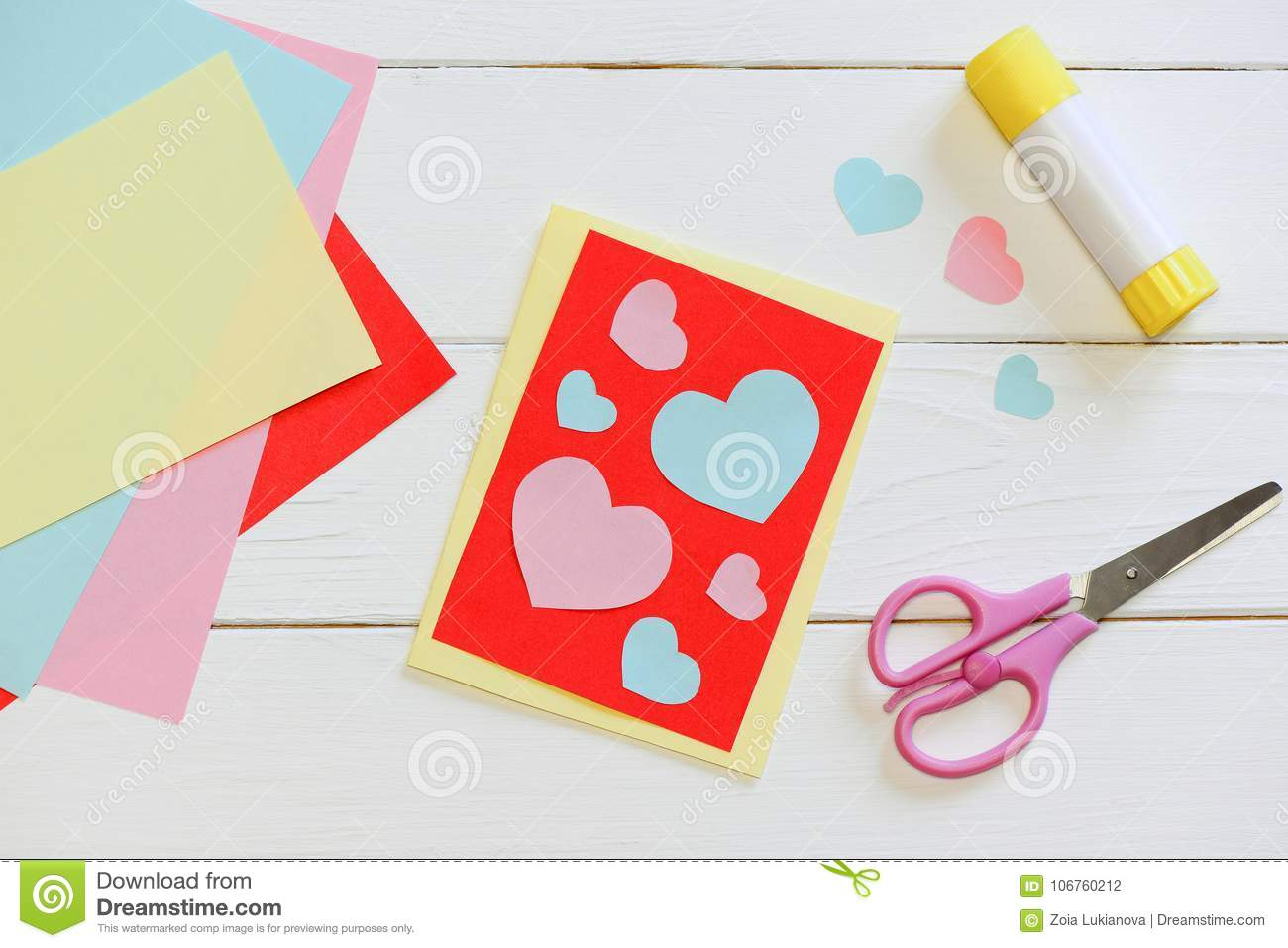 Valentines Day Or Mothers Day Card With Pink And Blue Hearts Scissors Glue Stick Colored