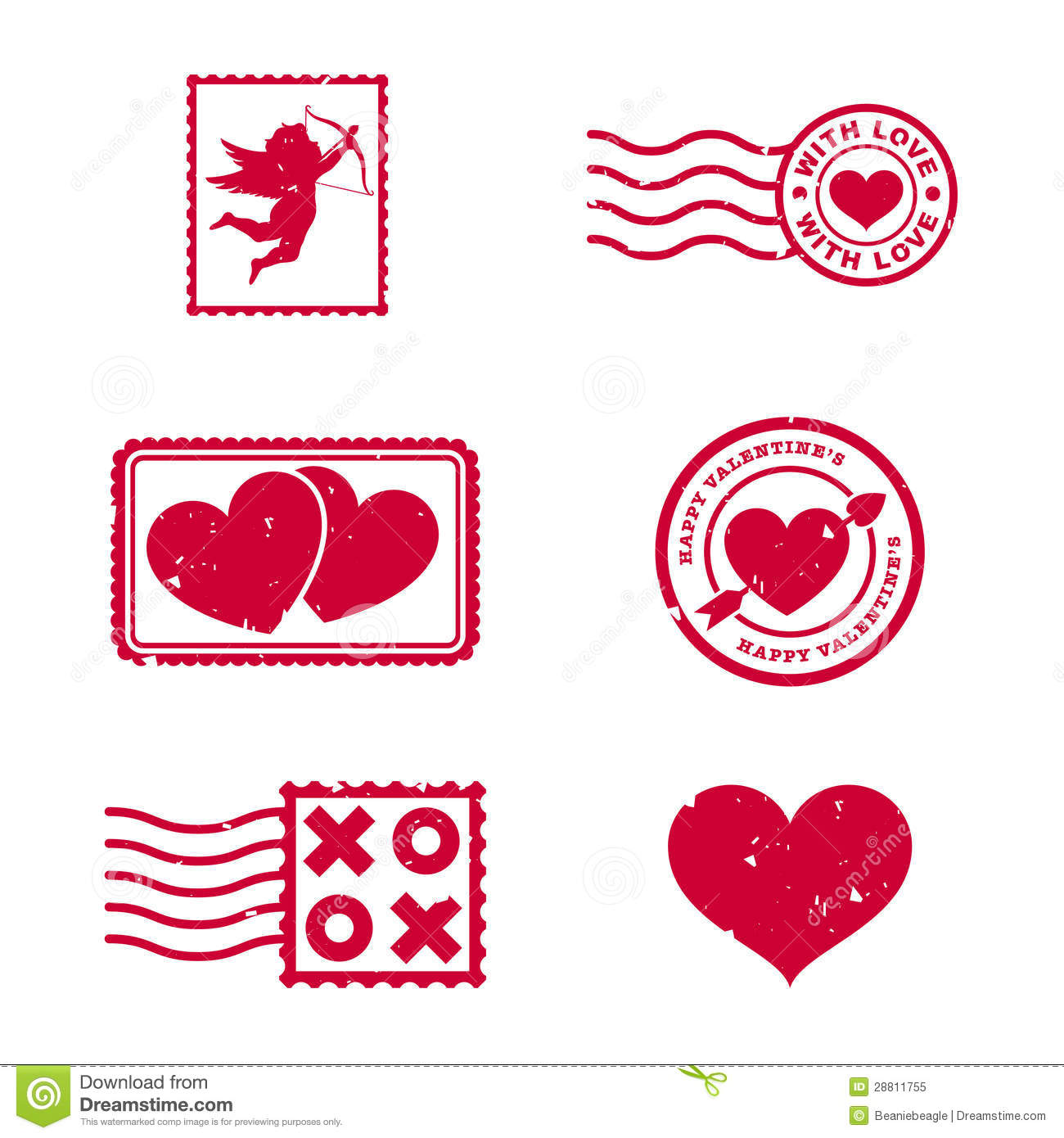 Valentines Day Stamps Stock Vector Illustration Of Arrow
